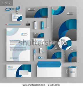 stock-vector-gray-stationery-template-design-with-blue-round-elements-documentation-for-business-240016963